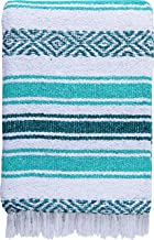 El Paso Designs Mexican Blanket Pastel Bloom Collection Yoga Classic Mexican Falsa Pattern Woven Throw 51in x 74in (Teal and Mint)