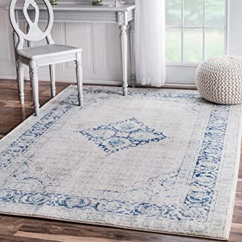 "Traditional Vintage Centerpiece Light Blue Area Rugs, 5 Feet by 7 Feet 5 Inches (5' x 7' 5"")"
