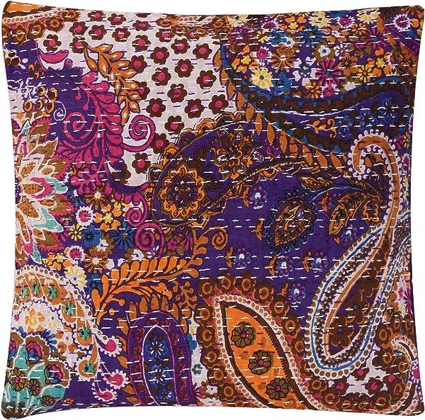 HANDICRAFT PALACE Indian Kantha Cushion Cover Cotton Decorative Throw Pillow Case Decor Bohemian Handmade Toss Pillow Sham Purple Paisley
