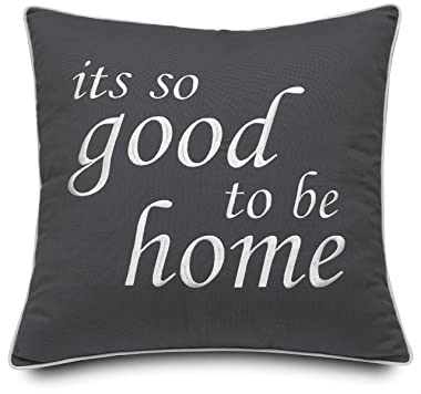 """Rudransha Its So Good to Be Home Embroidered Cotton Grey Decorative 18"""" Square Accent Throw Pillow Cover for Bedroom Couc"""
