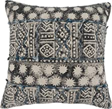 """Saro Lifestyle Faye Collection Embroidered Block Print Cotton Throw Pillow With Down Filling, 20"""", Blue"""