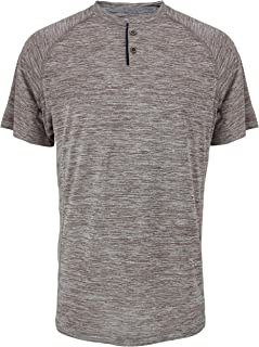 Leehanton Mens Dry Fit Henley Shirts Athletic Sport Running Short Sleeve T Shirts Workout Moisture Wicking Performance Tee