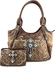 Justin West Tooled Leather Laser Cut Rhinestone Cross Studded Shoulder Concealed Carry Tote Style Handbag Purse