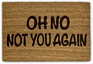 "Relaxdays Coconut Fibre Coir Doormat ""Oh No Not You Again"" 40 x 60 cm Welcome Mat with Anti-Slip Rubber PVC Underside, Brown"