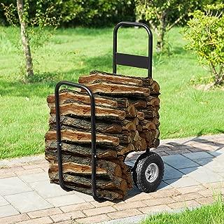 1900 Earth Worth   Firewood Log Cart   Wood Mover-Hauler-Roller   Black