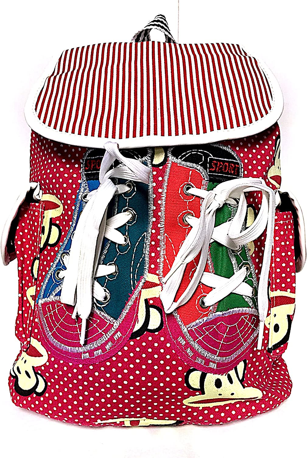 School Backpack Girls Casual Canvas Daypack Teenage Canvas Backpack Drawstring (Red with White Poco Dots)
