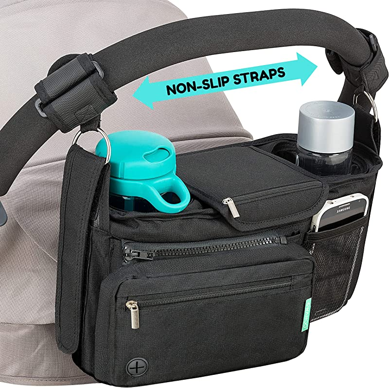 Non Slip Stroller Organizer With Cup Holders Exclusive Straps Grip Handlebar Universal Fit For Uppababy Vista Cruz Nuna Baby Jogger Bob Britax Bugaboo Graco Stroller Accessories Caddy Parent Console