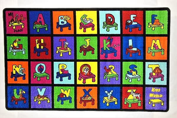 Kids World Carpets Kids World My ABC Place Machine Tufted Nylon Area Rug 8 X 10 Blue Green 8 X 10