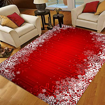 Red Christmas Area Rugs 5x4 Snowflake Area Rugs For Living Room Bedroom Large Area Rugs Red Christmas Snowflake Abstract 44034 Amazon Co Uk Kitchen Home