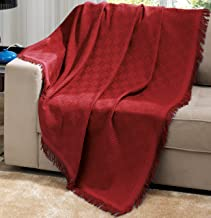 Dohler Red Brazilian Cotton London Throw Blanket with Fringe 63x87 Inches … …