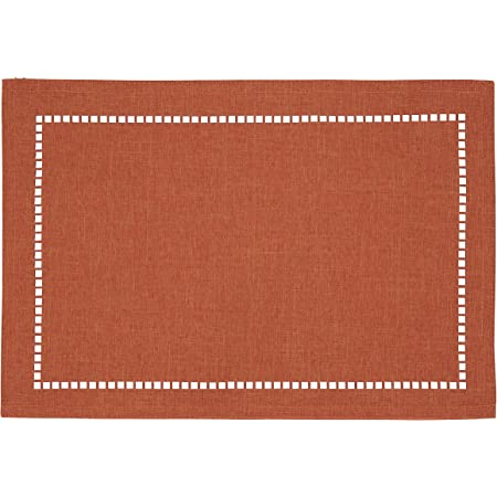 Amazon Com Sweet Home Collection Trends Two Tone 100 Cotton Woven Placemat 4 Pack 13 X 19 Rust Kitchen Dining