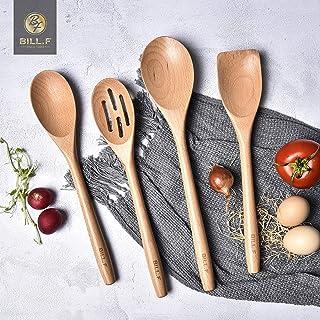 Ensemble d'ustensiles de cuisine en bois de hêtre, outils de cuisine, gadgets de cuisine 4 pièces cuillère et spatule Mix ...