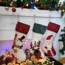 Houwsbaby 3 pcs Large Christmas Stockings Kit Flax Santa Snowman Rudolph Socks Rustic Holders with Ruffle Cuff Gift Bags f...