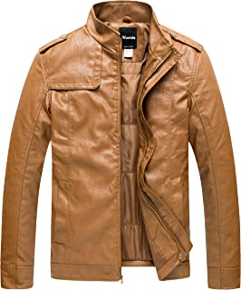 Wantdo Men's Motorcycle Stand Collar PU Faux Leather Jacket