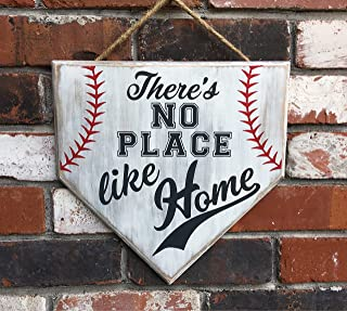 No Place Like Home Baseball Sign Home Plate Coach Gift Rustic Baseball Mom Softball Mom Gifts Wooden Sign Wall Decor Garden Signs and Plaques