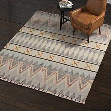 Amazon Com Amazon Brand Rivet Southwestern Geometric Wool Area Rug 4 X 6 Foot Blue Ivory Yellow Furniture Decor