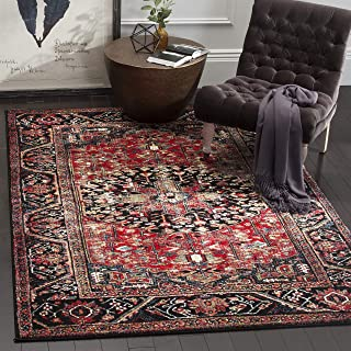 "Safavieh Vintage Hamadan Collection VTH215A Oriental Antiqued Red and Multi Area Rug (5'3"" x 7'6"")"