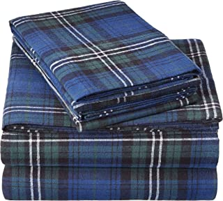 160 GSM Plaid Flannel Sheet Set, Blackwatch Plaid, Full