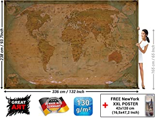Wall Mural – Historical World Map – Picture Decoration Globe Antique Vintage World Map Used Sepia Atlas Map Old School Wallpaper Photoposter Decor (132.3 x 93.7 Inch / 336 x 238 cm)