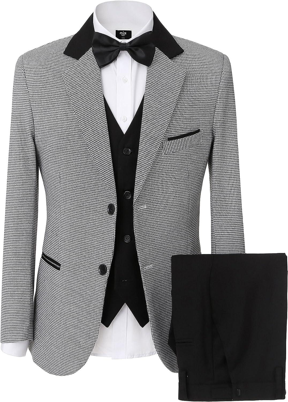 SOLOVEDRESS Men's 3 Pieces Business Suit Sets Two Button Tuxedos Men Suit Groomsmen Blazer