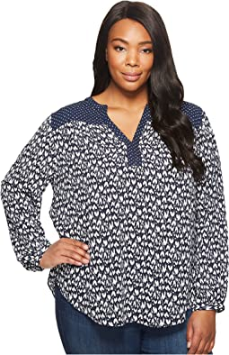 Plus Size Print Mix Peasant Top