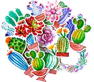 Navy Peony Colorful Cactus Stickers | Cute Waterproof Decals for Your Water Bottles, Laptops and Phones | Girls' Sticker Packs for Your Scrapbook, Planners and Bullet Journals (31 Pieces)
