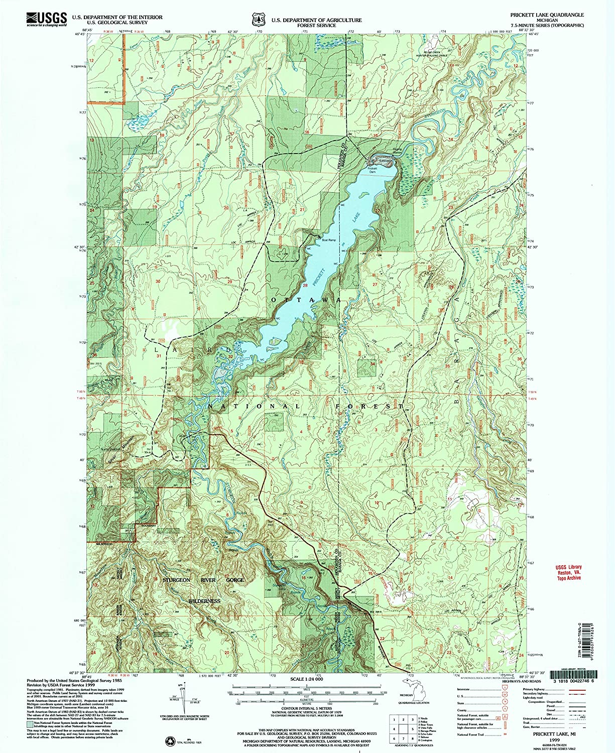 Prickett Lake MI topo map, 1 24000 Scale, 7.5 X 7.5 Minute, Historical, 1999, Updated 2004, 27 x 22 in