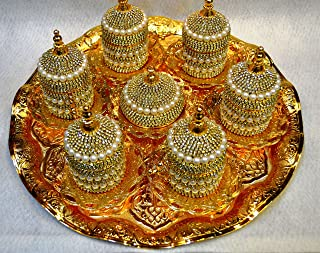 27 Piece Turkish Greek Ottoman Coffee Espresso Cup Saucer Swarovski Crystal and Pearl Set GOLD