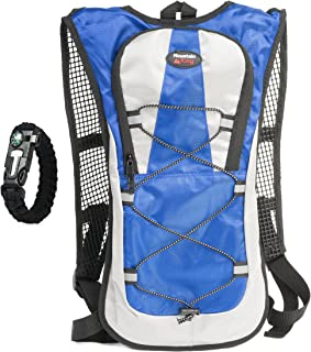Hydration Pack Backpack 2L 2 Liter Water Bladder Best Pack for Hiking, Running, Climbing, Cycling, Biking - Includes Flint Fire Starter with Built in Compass and Whistle - by Mountain King