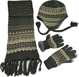 N'Ice Caps Women's Sherpa Lined Knit Hat Scarf Touchscreen Glove 3PC Skier Set