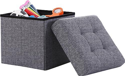 Ornavo Home - Taburete tapizado plegable de lino con forma de cubo cuadrado para reposapiés, 38 x 38 x 38 cm