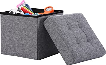 Ornavo Home Foldable Tufted Linen Storage Ottoman Square Cube Foot Rest Stool/Seat - 15 x 15 x 15 (Grey)