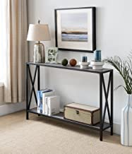 Grey / Black Metal Frame 2-tier Entryway Console Sofa Table with X-Design Sides