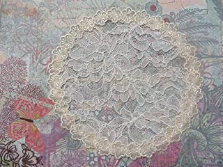 Handmade cream lace hair doily with flower trim Kippah Yarmulke Veil (with decorative bobby pin) (Style 460) Elegant Doily Exclusive