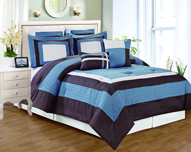 Time sale RT Designers Collection Landon 8 Comforter Piece Que Set Max 43% OFF Pieced