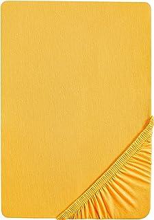 Castell 0077113 Drap housse en Jersey extensible (hauteur du matelas max.22 cm) 1x 140x200 cm > 160x200 cm, Jaune