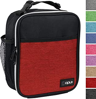 OPUX Premium Insulated Lunch Box | Soft Leakproof School Lunch Bag for Kids, Boys, Girls | Durable Reusable Work Lunch Pail Cooler for Adult Men, Women, Office Fits 6 Cans (Heather Red)