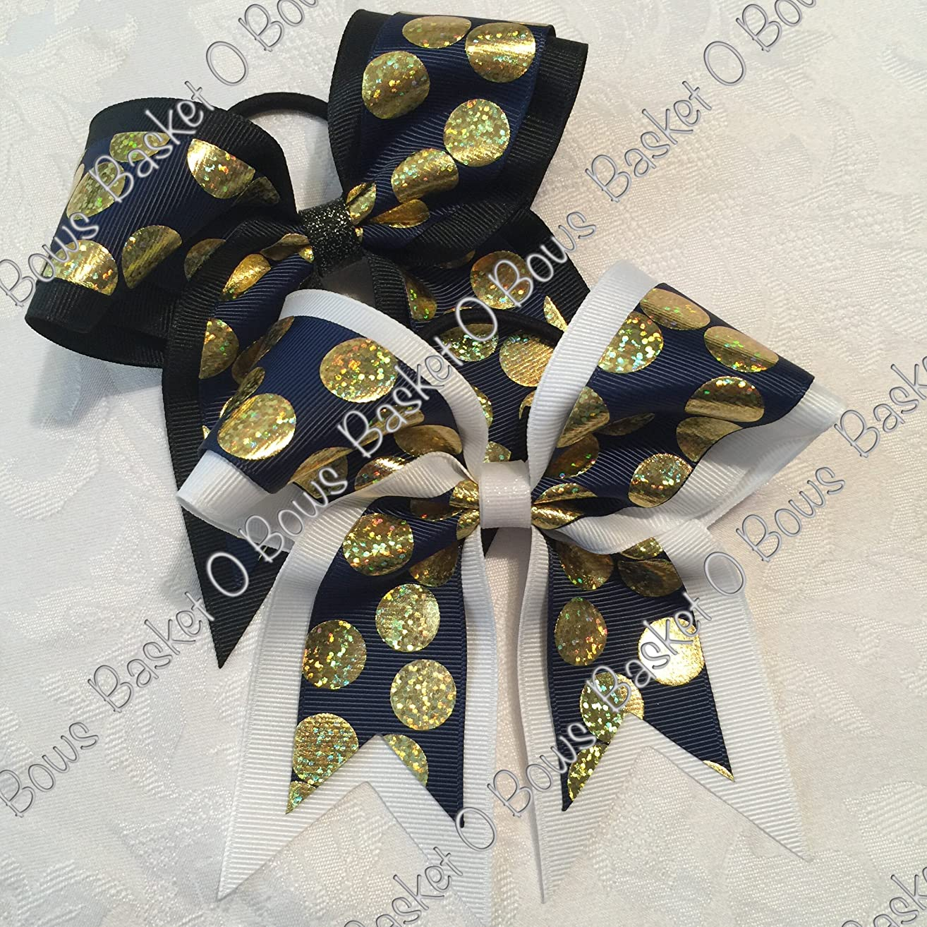 Small Bow ~ NAVY BLUE with GOLD HOLOGRAPHIC SILLY DOT Hair Bow ~ 2-layer ~ Made to Order