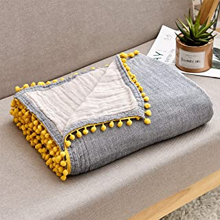 ECRISDOO Muslin Throw Blanket with Pompom, 100% Cotton 4-Layer Breathable Pre-Washed Lightweight Warm Bed Blankets, fit Couch Sofa for All Season, Adults & Kids (Gray with Yellow pom, 60 x 80)