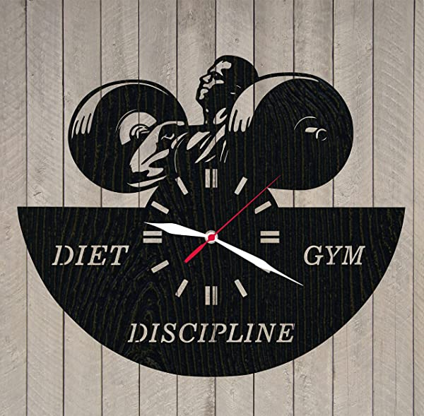 Bodybuilding Wooden Wall Clock Wood Clock Powerlifting Sports Design TV Perfect Gift And Beautiful Art Decorate Your Home With MODERN Style UNIQUE GIFT Idea For Him And Her 12 Inches