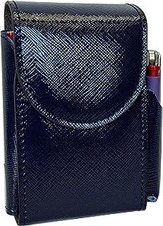 Portasigarette, porta pacchetto sigarette con porta accendino, Vera Pelle - Etabeta Artigiano Toscano - Made in Italy (blu...