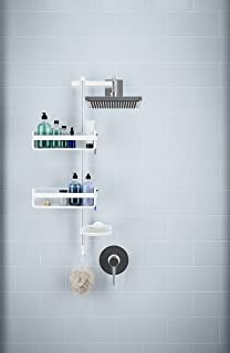 Umbra–Estantería Flipside Flex Barra de Ducha, Ajustable para Ducha con Flex Gel-Lock tecnología, Funciona en Barra y Soporte de duchas, Blanco/níquel Acabado
