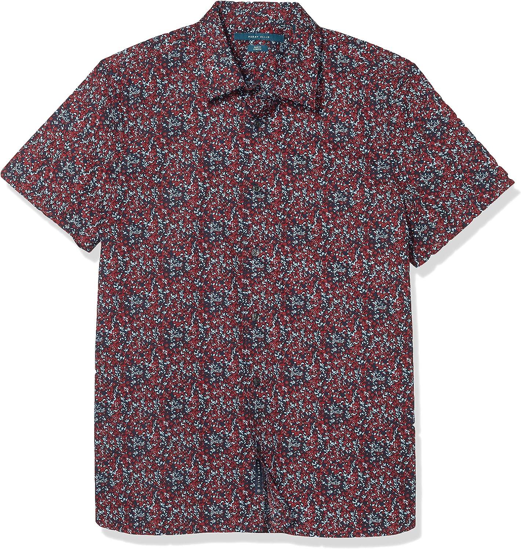 Perry Ellis Men's Slim Fit Mini Floral Print Stretch Short Sleeve Button-Down Shirt