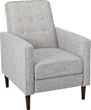 Christopher Knight Home Macedonia Mid Century Modern Tufted Back Light Grey Tweed Fabric Recliner, Single