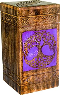 Hind Handicrafts Tree of Life Urns for Human Ashes Adult, Rosewood Cremation Urns for Ashes, Burial Urns for Columbarium, Wooden Box Funeral Urns for Human Ashes Large - 250 Cu/in (Purple)