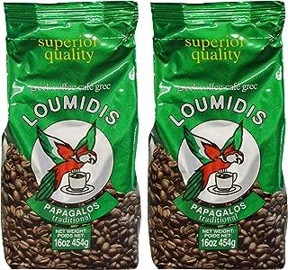 Loumidis Greek Ground Coffee Papagalos Traditional 2 Pack (16 Ounces)