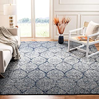 Safavieh Madison Collection MAD604G Navy and Silver Distressed Ogee Area Rug (12' x 18')