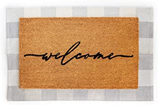 Layered Outdoor Welcome Mat Set - Coconut Coir (18-inch x 30-inch) and Woven Doormat (24-inch x 35-inch) Combo Inside or O...