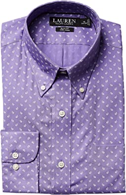 LAUREN Ralph Lauren - Slim Fit Non Iron Poplin Mini Paisley Print Spread Collar Dress Shirt