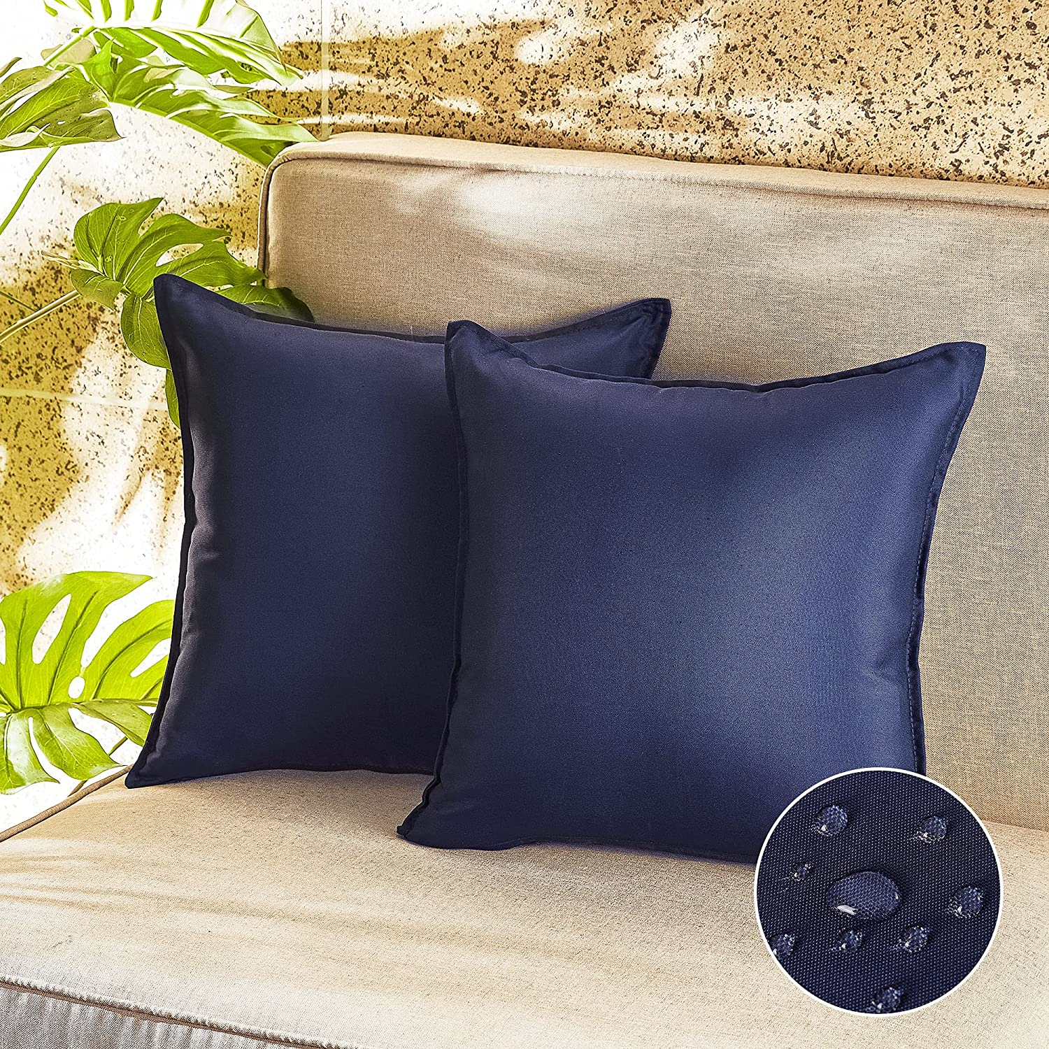 RYB HOME Blue Outdoor Pillow Covers Waterproof Dust Proof UV Protection Square Garden Cushion Covers for Patio Seating Tent Balcony Couch Sofa Porch Swing, 18x18 inch, Navy Blue, 2 Pcs